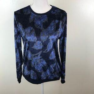 Nanette Lepore Blue Floral Velvet Long Sleeve Top